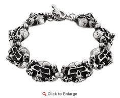 Stainless Steel Five Skulls Link #Bracelet * $59.99