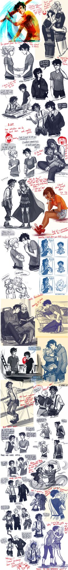 A collage of brilliant Percy Jackson drawings (with a couple crossovers from other shows).