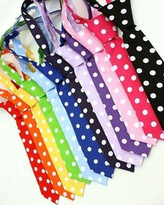 polka dot ties in colors of the rainbow