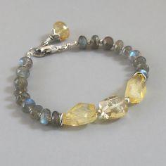 Labradorite Citrine Sterling Silver Bracelet DJStrang Schiller Color Flasing Blue Green Yellow Red  Boho Cottage Chic Gemstone