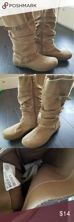 Tan Suede boots size 6.5 Tan suede boots. Xhilaration. Size 6.5. Perfect for the upcoming winter months! Xhilaration Shoes Winter & Rain Boots