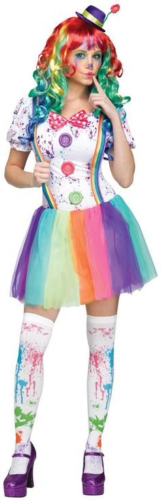 PartyBell.com - Crazy Color #Clown Adult Costume