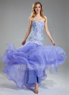 Trumpet/Mermaid Sweetheart Floor-Length Organza Charmeuse Lace Prom Dress With Beading Sequins (018019004)
