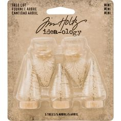 Reneabouquets New Item Listing~Ranger Tim Holtz Small Tree Set Lot, 2 1/2 Inch Set Of 5  Ideaology Woodland Bottle Brush Christmas Trees
