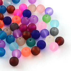 500pcs Colour Frosted Glass Beads Round Smooth Transparent Loose Beads Matte 6mm | eBay