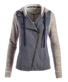 This Mystree | Navy & Gray Moto-Zip Hooded Jacket by Mystree is perfect! #zulilyfinds