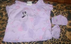 Disney minnie mouse 3-6month baby girl purple tee shirt with socks #Disney