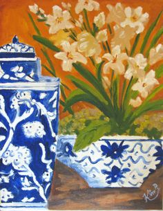 Original oil painting:   Floral still life with blue and white jar, and bowl with orchid