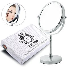 TOP TENG® Deluxe Double-Sided 1X and 3X Magnification Vanity Makeup Mirror, Shiny Polished Chrome Finish, Perfect Bathroom and Countertop Vanity Mirrors ~ Makes a Beautiful Gift (6-Inch)