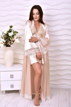 Beige bridal robe and peignoir set Bridal lingerie wedding night Kimono lace robe and nightgown Wedding robes for bride Wife Xmas gift ideas - Wedding lingerie - Wedding Robe, Lace Bridal Robe, Wedding Kimono, Bridal Robes, Wedding Lingerie, Wedding Night, Set Lingerie, Corsage, Peignoir