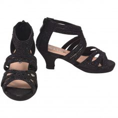 65722cdba23c Girls Black Stone Adorned Strappy Back Zipper Heeled Sandals 11-4 Kids New  Arrival Dress