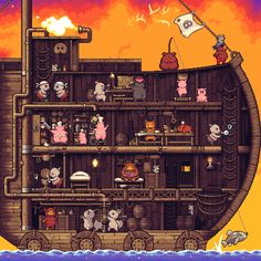 inside the ship, pigs, pixel art, animation 8 Bits, Game Design, Animation Pixel, Nail Bat, Illustrations, Illustration Art, Anim Gif, Pixel Art Games, Motion Design