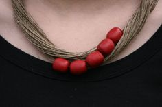 Beaded Hemp Necklace adorned with red beads - Linen necklace - Pixie necklace- Tribal necklace - Rustic necklace- Hippie necklace