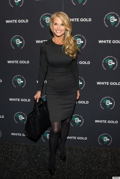 Christie Brinkley (60) Nov. 2013 To See more outfits modeled by Women over 45 see: http://stillblondeafteralltheseyears.com/category/outfits-modeled-women-over-45/#OutfitsModeledbyWomenover45 #fashionforWomenover45