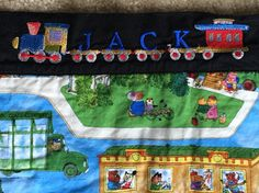 Name border on Scarrytown playmat/quilt