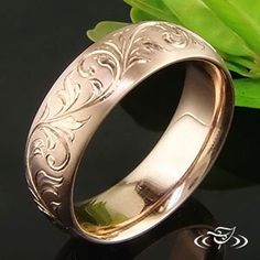 14KT ROSE GOLD 7MM ENGRAVED COMFORT FIT BAND #GreenLakeJewelry
