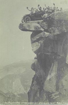Arthur Pillsbury's Studebacker~Overhang Rock, Glacier Point, Yosemite