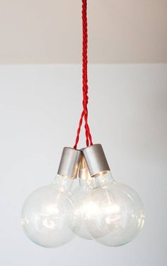 bright red cord with exposed bulbs
