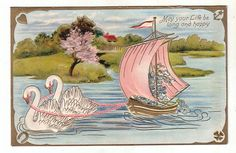 Beautiful Embossed Postcard with Swan's and Pink Boat (Image1)