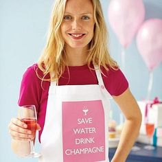 'Save Water Drink Champagne' Apron by Catherine Colebrook Mottos To Live By, Sensory Stimulation, Cute Aprons, Preppy Southern, Sewing Aprons, Champagne Bottles, Wine Glass Charms, Save Water, Prosecco