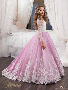86136baa8c42f Vintage Princess Floral Lace Arabic 2017 Flower Girl Dresses Long Sleeves  Tulle Child Dresses Beautiful Flower Girl Wedding Dresses F0678 Flower Girl  ...