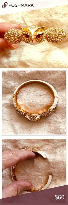 Kate Spade bangle bracelet NWOT Beautiful rhinestones adorn this beautiful enamel owl bangle. Hinged opening. kate spade Jewelry Bracelets