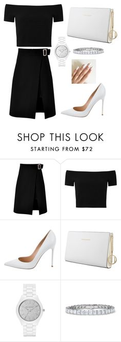 """""""BLACK AND WHITE"""" by mureet ❤ liked on Polyvore featuring storets, Alice + Olivia, Gianvito Rossi, Trussardi and Michael Kors"""