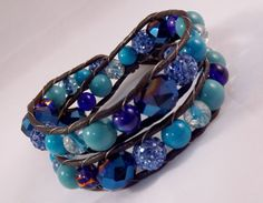 Blue Beaded Wrap Bracelet Stone Jewelry by KarismicCreations