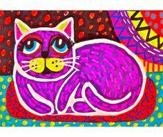 Folk Art Cat Print Purple Kids Wall Art Girls by AGirlAnOwlAndACat, $9.00
