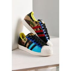 adidas Originals Superstar Oddity Pack Sneaker (120 AUD) ❤ liked on Polyvore featuring shoes, sneakers, multi, camo shoes, bright shoes, adidas shoes, rubber sole shoes and camouflage sneakers