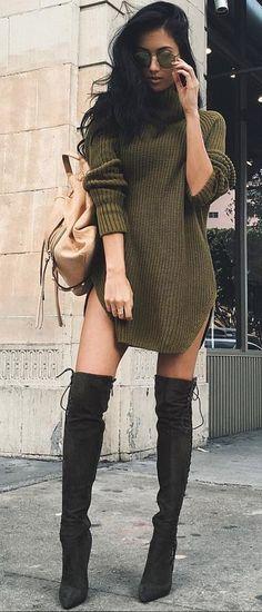 spring fashion Green Knit Dress & Black OTK Boots