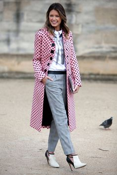Street Style - pink & black spotted trench jacket - grey trousers pants - black & white heels @ Paris Fashion Week 2014