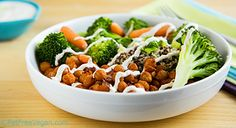 Breaking Up is Hard to Do: Chickpea and Broccoli Bowl with Tahini Sauce-fatfreevegan.com website