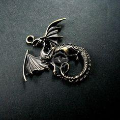 5pcs 40x45mm vintage alloy bronze antiqued dragon pendant charm DIY jewelry findings supplies - Lancelot DIY (China) - $3.93