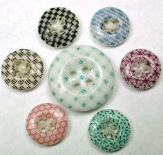 8 Antique China Buttons Various Calico Patterns & Colors