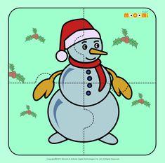 Snowman - Jigzaw Puzzles for Kids Free Puzzles For Kids, Free Printable Puzzles, Printable Board Games, Jigsaw Puzzles For Kids, Printable Worksheets, Kindergarten Worksheets, Preschool Activities, Articles For Kids, Free Online Coloring