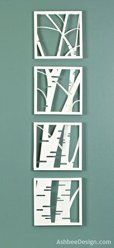 Birch Tree paper wall art by Marji Roy of AshbeeDesign.com created using a Silhouette