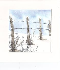 Need to draw or paint this. Watercolor Christmas Cards, Watercolor And Ink, Watercolor Paintings, Watercolors, Winter Painting, Winter Art, Pictures To Paint, Art Pictures, Photos
