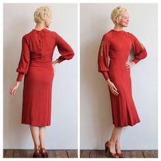 "153 Likes, 16 Comments - Karyn (@dethrosevintage) on Instagram: ""New in the Shop • 1930s Burning Sunset Rayon Crepe Dress • Small bias cut  #dethrosevintage #etsy…"""