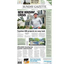 The front page of the Taunton Daily Gazette for Sunday, May 17, 2015.
