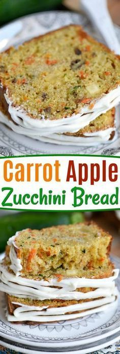 This Carrot Apple Zucchini Bread recipe is incredibly moist and flavorful! Vibrant colors from the carrot, apple, and zucchini makes this quick bread irresisitble! Sure to be a new favorite! // Mom O (Baking Bread Zucchini) Dessert Bread, Dessert Recipes, Recipes Dinner, Appetizer Dessert, Dinner Ideas, Tapas Ideas, Tapas Recipes, Fruit Bread, Coctails Recipes