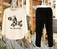 Spring's Zebra 100% Cotton Long Sleeved T-shirt Pants Girls Set Boys Suit #hz #DressyEverydayHoliday