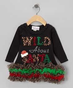 This The Princess and the Prince Black 'Wild About Santa' Ruffle Dress - Infant, Toddler & Girls by The Princess and the Prince is perfect! #zulilyfinds