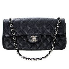 Simple & classic and oh so Chanel. Chanel Black Caviar Leather East West Flap Bag with Silver Hardware