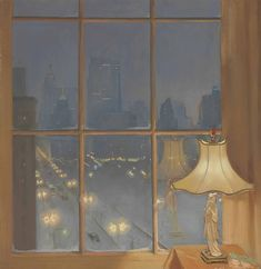 """Huguette Clark painted her view over Central Park in """"Scene from My Window—Night."""" The painting sold for $23,750. (Via Christies.com)"""