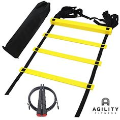 Speed Agility Ladder Bundle with Skipping Jump Rope and Carry Bag for Training Football Fitness Soccer Boxing -- You can get additional details at the image link. (This is an affiliate link) #ExerciseFitness