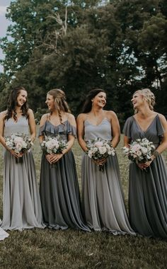 Summer bridesmaid dresses - Jenny Yoo Bridesmaids, various mix n match long luxe chiffon styles in a shades of blue and grey These styles feature unique flutter sleeve details, vnecklines, convertible straps and high halter ne Bridesmaid Dresses Under 100, Grey Bridesmaids, Mismatched Bridesmaid Dresses, Bridesmaid Dress Colors, Charcoal Bridesmaid Dresses, Light Grey Bridesmaid Dresses, Bridal Party Dresses, Wedding Gowns, Dress Party