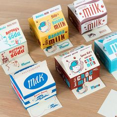 Great for kid's desks, this fun set of memo pads will keep them organised. The 'carton' by Rex International contains 300 memo pads with cute milk design. Find it at Autumn Fair. Retro Packaging, Milk Packaging, Bakery Packaging, Cute Packaging, Brand Packaging, Product Packaging, Packaging Ideas, Carton Design, Ice Cream Brands