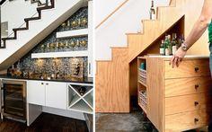 Cómo aprovechar espacios bajo la escalera - Minibar