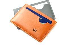 Monogramed Leather Credit Card Wallet by BrambleandBeene on Etsy